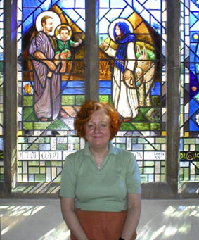 Delia with the Holy Family window St. John Vianney RC Church Bexleyheath
