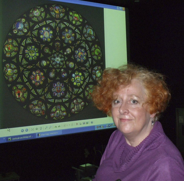 Delia with projected Rose Window