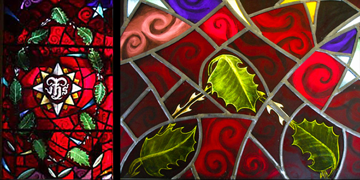 Sacred Heart window with Holly Leaves and Thorns. Sacred Heart Chapel, St. Columba RC Church, South Croydon