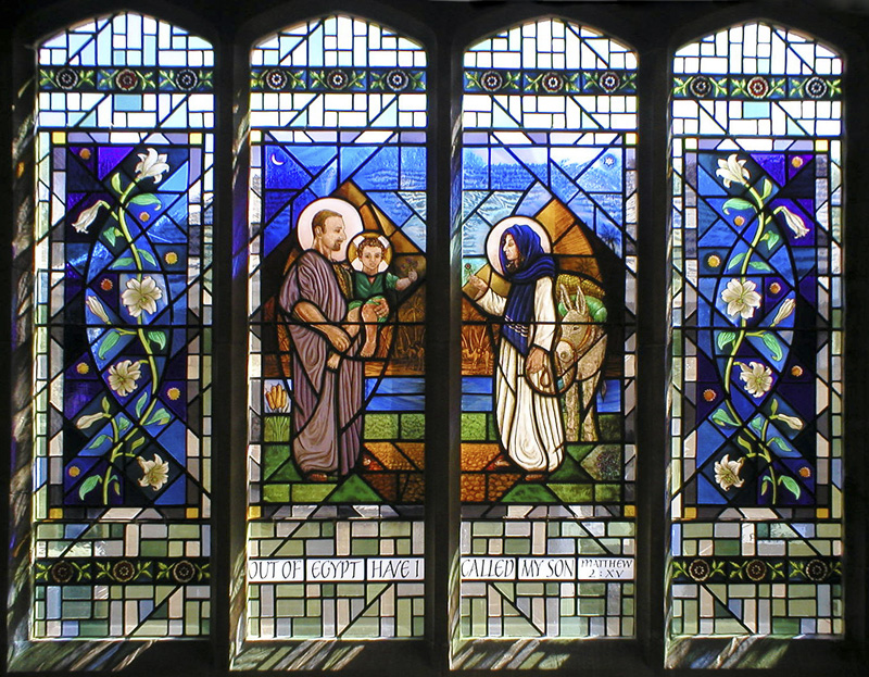 The Holy Family in Egypt - Stained Glass Window - St John Vianney RC Church, Heathfield Road, Bexleyheath